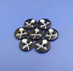 Flatback Freshwater Shell Buttons with White Rose Pattern