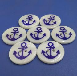 3mm Thick Blue Anchor Printed Buttons
