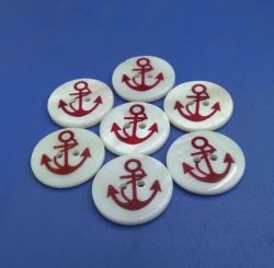 Red Anchor Printed Pattern Buttons