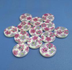 13mm Pink Flower Pattern Bulk Buttons