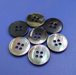 4 Holes Polished Black Mother Of Pearl Button