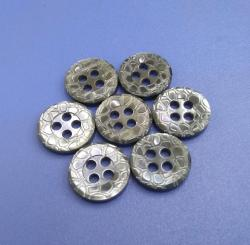 Grey Coloured 4 Holes Pattern Design Sewing Buttons