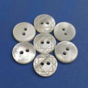 Polished and Plain white 2Hole Laser Pattern Mother of Pearl Buttons
