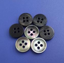 High End 4Holes Suit Black Mother of Pearl Buttons with Edge Design