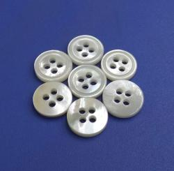 Super Shiny Polished White Four Holes Round MOP Shirt Sewing Button