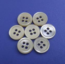 Cream White Shirt MOP Buttons with Slim Rim Design