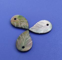 New Leaves Laser Pattern Black MOP Buttons for Jewellery/Jewelry Making