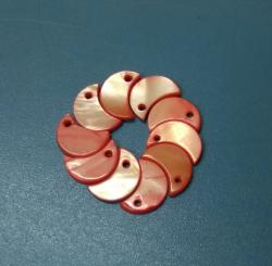 Exclusive Shape Design Orange Colored River Shell Pearl Button with 1 Hole